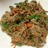 牛肉とピーマンと人参の焼き肉のたれ&味噌炒め