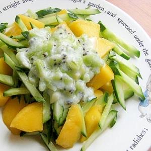緑なフルーツサラダ♪(ヨーグルト&キウイ他)