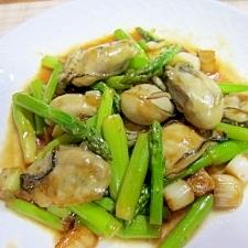 牡蠣とアスパラのオイスター炒め