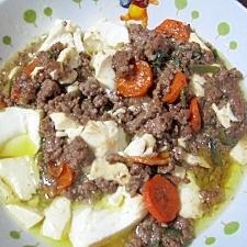 豆腐と挽肉の炒め物