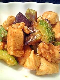 鶏むね肉と夏野菜のカレーオイスターソース炒め♪
