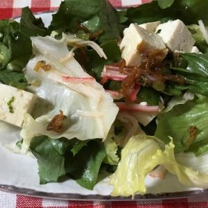 ちりめん山椒と豆腐カニカマ大根葉レタスのサラダ