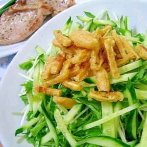 たっぷり水菜とカリカリ油揚げのサラダ
