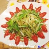 【パスタ】カツオ節と水菜の和風 フェットチーネ