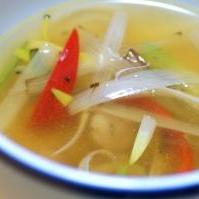長ねぎのコンソメスープ