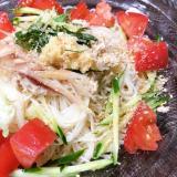 夏☆ツナマヨとトマトのぶっかけ素麺