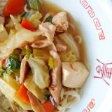 乾麺で野菜たっぷり★かけうどん★