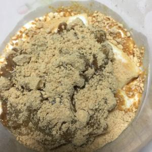 ヨーグルトマシュマロと納豆のきな粉かけ