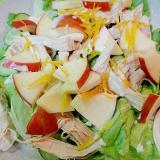 茹で鶏とリンゴレタスの柚子風味サラダ