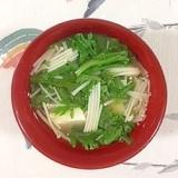 春菊、塩とうふ、えのきのお味噌汁