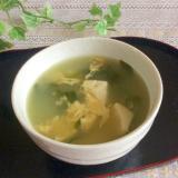 ツルムラサキと豆腐のお味噌汁