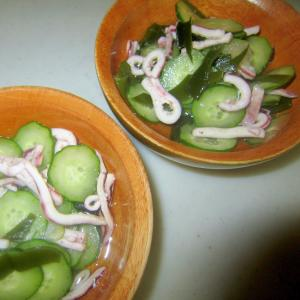 イカと胡瓜と生若芽の酢の物グリル