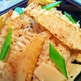 焼き筍を添えた発芽玄米の豆乳リゾット