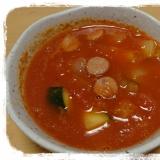 素材そのまま!!完熟トマトとズッキーニの濃厚スープ