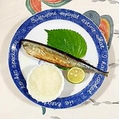 秋刀魚のグリル焼きに、スダチ