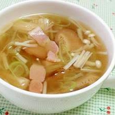ネギとキノコの中華スープ