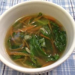 ecoレシピ♪レタスの外葉と干しえびのスープ♪