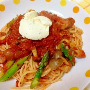 コストコ食材で♪マスカルポーネ添えトマトパスタ