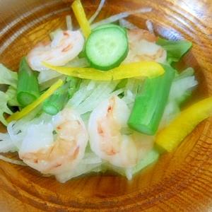 レタス・大根・アスパラ・むき海老のサラダ