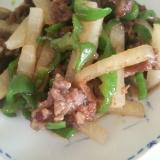 牛肉とピーマン、大根の炒め物