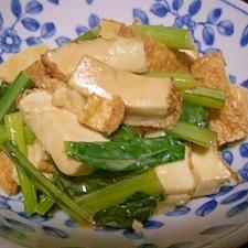 小松菜と厚揚げのマヨ炒め