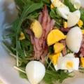 水菜とハムとたまごのマヨネーズ和えサラダ