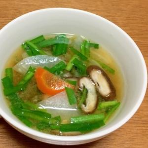 しいたけと根菜とニラの味噌汁
