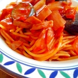 ラタトゥイユの残りで ☆ トマトソースのスパゲティ