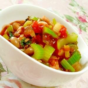 塩麹きのこde❤トマト缶とセロリの塩麹きのこ煮❤