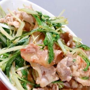 簡単・豚肉とシャキシャキ水菜のカレーマヨ炒め
