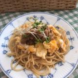 炒り卵と納豆のパスタ