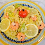 海老とセロリの冷製レモンカッペリーニ