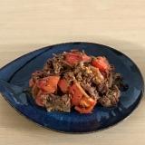 牛肉とトマトの粒マスタード炒め