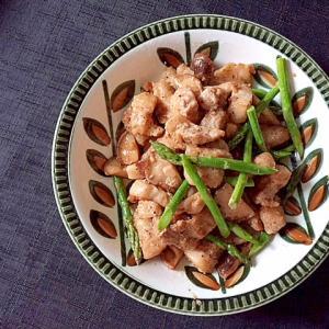 簡単3ステップ☆豚肉と椎茸アスパラのバター醤油炒め