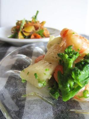 おつまみにも!海老と山芋のアーリオ・オーリオ