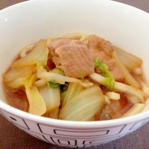 昆布つゆで簡単☆鶏肉と白菜のうどん