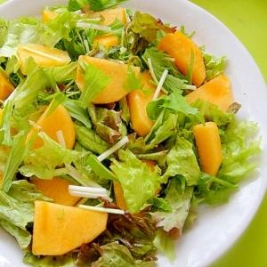 柿と水菜レタスのサラダ