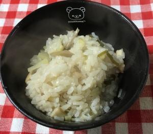 きんぴらと薄揚げ大根昆布エリンギ竹輪のかやく飯