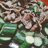 牛タンときゅうりの炒め物