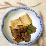 鶏レバーと焼き豆腐とフキの甘辛煮。