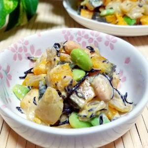 南瓜の煮付けリメイク!豆とヒジキの南瓜サラダ