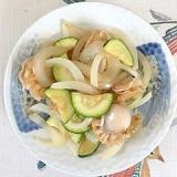 ベビー帆立、ズッキーニ、玉葱の炒め物