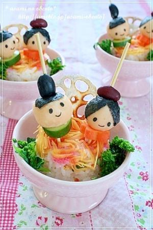 ひな祭りご飯*おひな様デコでミニケーキ寿司