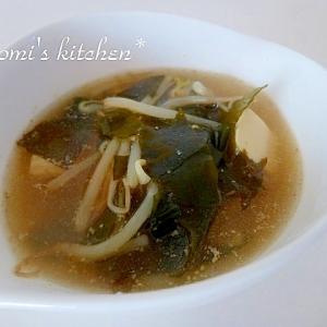 もやしとワカメの中華風スープ