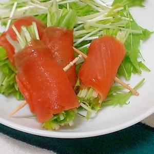 簡単!おつまみやおもてなしに水菜のサーモン巻き