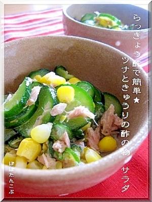 らっきょう酢で簡単★ツナときゅうりの酢の物・サラダ