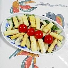 赤軸水菜とホワイトアスパラのサラダ