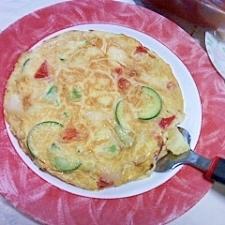朝の 野菜たっぷりオムレツ