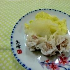冷凍シュウマイと白菜蒸し