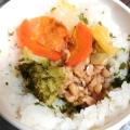 ブロッコリー、トウモロコシ、わかめの玄米雑炊